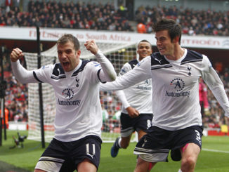 Tottenham Hotspur's Rafael Van der Vaart (left) celebrates with team-mate Gareth Bale (right) after scoring their second goal from the penalty spot